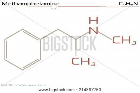 Large and detailed illustration of the molecule of Methamphetamine