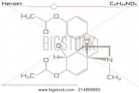 Large and detailed illustration of the molecule of Heroin