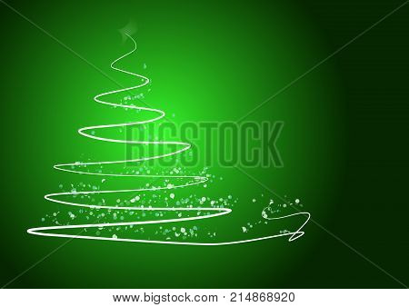 Abstract Christmas Tree On Shiny Blue Background With The Writing