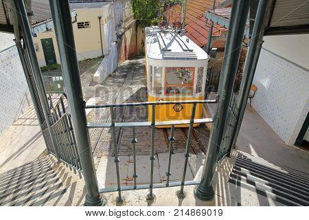 LISBON, PORTUGAL - NOVEMBER 4, 2017: The funicular Elevador da Lavra in Bairro Alto neighborhood