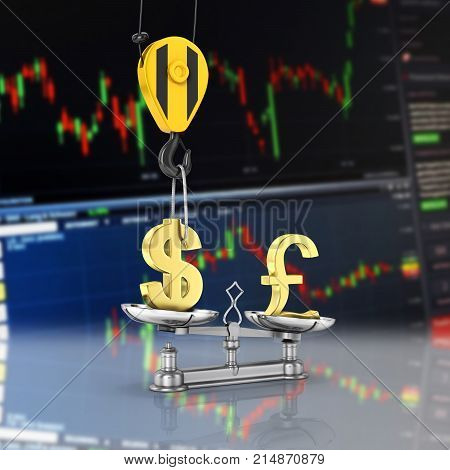 Concept Of Exchange Rate Support Dollar Vs Pound The Crane Pulls The Dollar Up And Lowers The Pound