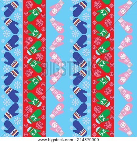Christmas pattern with mittens - Illustration. Holiday background design with knitted mittens