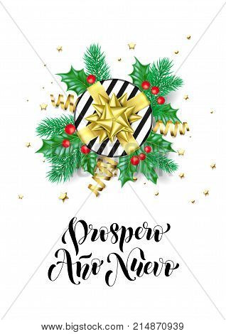 Happy New Year Spanish Prospero Ano Nuevo Calligraphy Hand Drawn Text For Greeting Card Background T