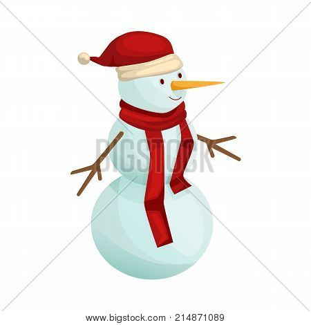 Merry christmas and happy New Year concept. Snowman with a scarf and a festive hat, against the background of snow. Christmas friendly snowman. Vector illustration isolated.