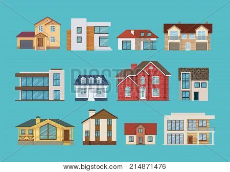 Set of different colorful suburban houses and cottages, family vacation houses, mansion, real estate in rural area. Facade apartment house. Vector illustration isolated.