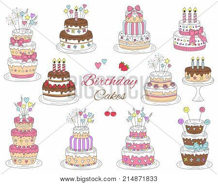 Birthday cakes set vector hand drawn colorful doodle illustration. Cherry strawberry and chocolate cakes with candles isolated on white background.