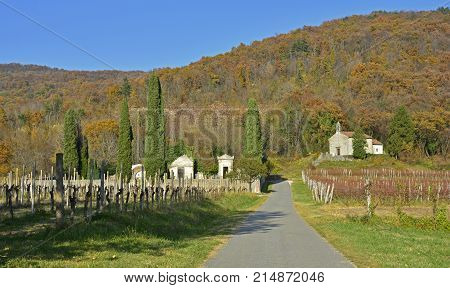 The historic Chiesa di San Floreano just outside the village of Sanguarzo in Friuli Venezia Giulia north east Italy