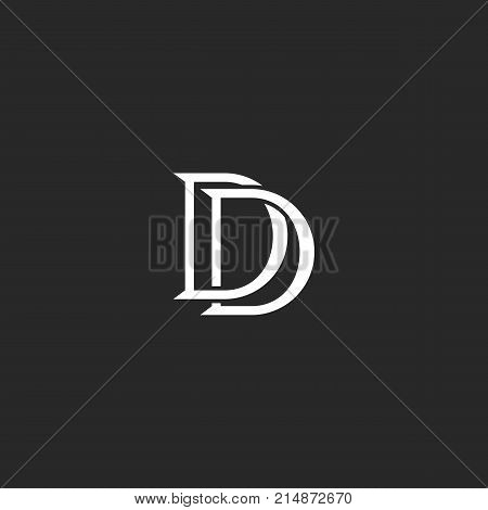 Letters Initials Dd Logo Monogram Weaving Lines Black And White Style, Combination Two Letters D Mar