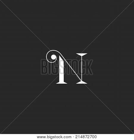 N Letter Monogram With Thin Lines Swirl. Simple Identity Feminine Initial Mark.