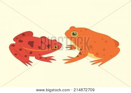 Exotic amphibian set. Frogs in different styles Cartoon Vector Illustration isolated. tropical animals.