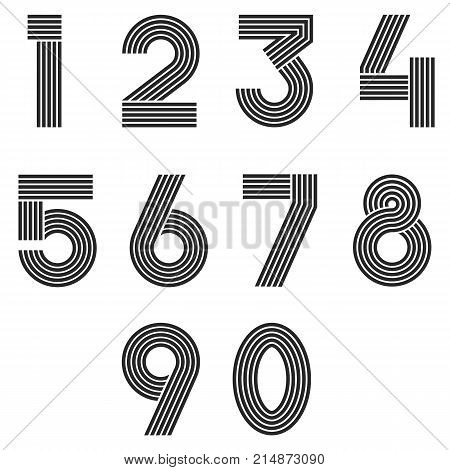 Numbers Set Thin Line Monogram Math Symbols, Linear Black And White Typography Design Element Mathem