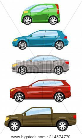 Set of cars side view different colors. Hatchback sedan truck suv car icon detailed. Vector illustration.