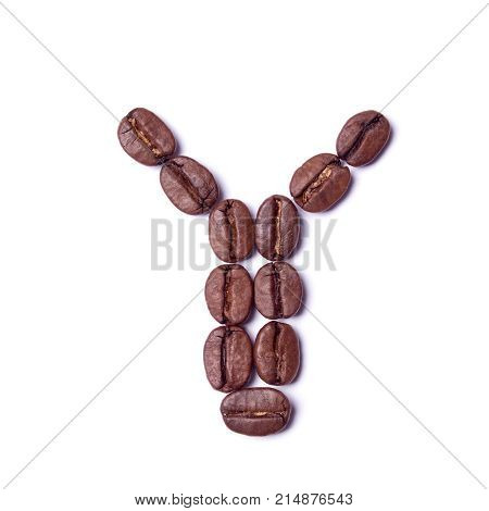 Letter Y of coffee beans from alphabet isolated on white background. close-up