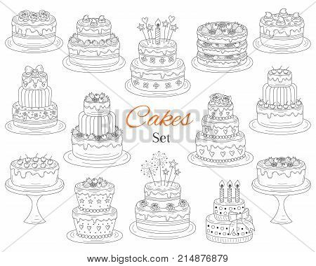 Cakes set vector hand drawn doodle illustration. Different types of tasty cakes. Birthday wedding cherry strawberry and chocolate cakes collection isolated on white background.