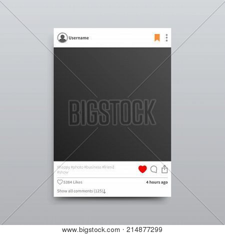 Instagram empty photo frame with red heart and bookmark button, several hashtags and lot of likes isolated vector Illustration on grey background.