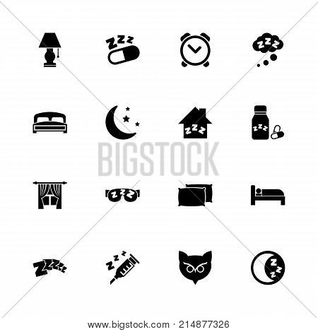 Sleep icons - Expand to any size - Change to any colour. Flat Vector Icons - Black Illustration on White Background.