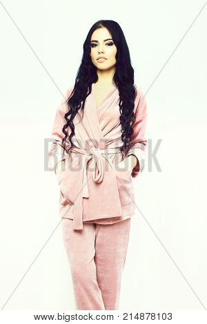 Sexy Girl Posing In Womans Pink Velour Pajama Home Suit