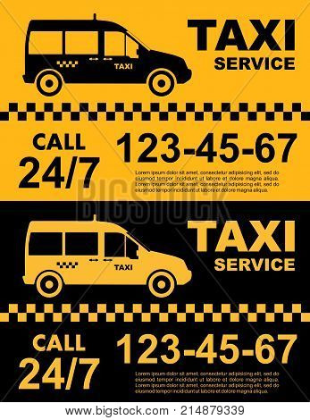 Taxi service concept. Vector yellow and black banner poster or flyer. Taxi service. Silhouette of taxi car.
