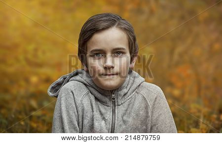 Portrait of young boy in forest in autumn. Photo portrait of kid in yellow- orange nature (fall season). Boy posing to camera in park. Kid (boy smilling on the path. Portrait of boy at sunset.