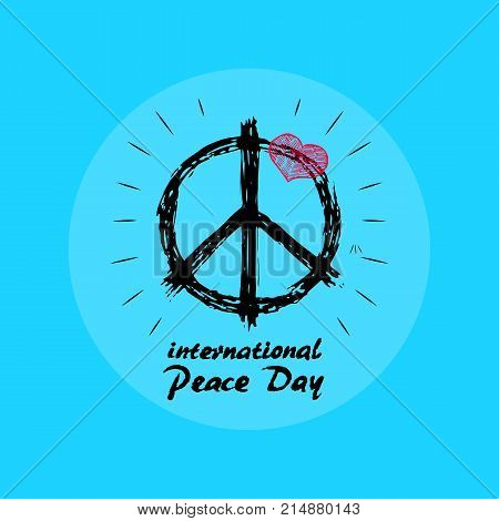 International Peace Day emblem vector illustration with hippie symbol on light blue background. Tiny pink heart finishes composition