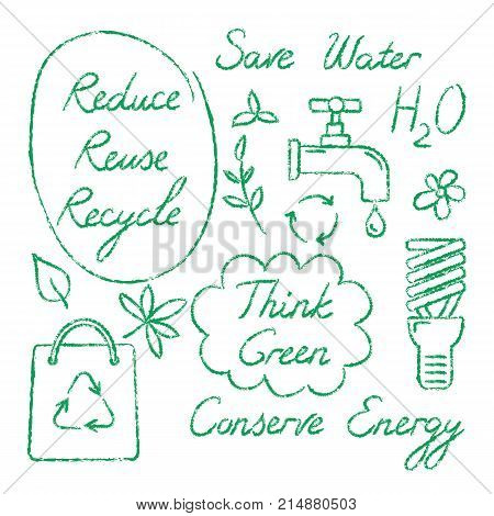Set of hand drawn ecology icons and lettering - Reduce Reuse Recycle, Save water, Think green, Conserve Energy