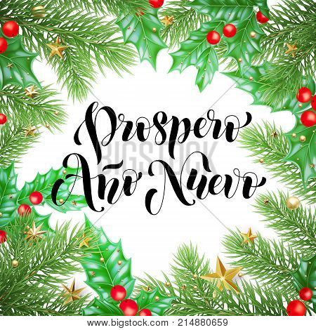 Prospero Ano Nuevo Spanish Happy New Year Calligraphy Hand Drawn Text On Holly Wreath Ornament For G
