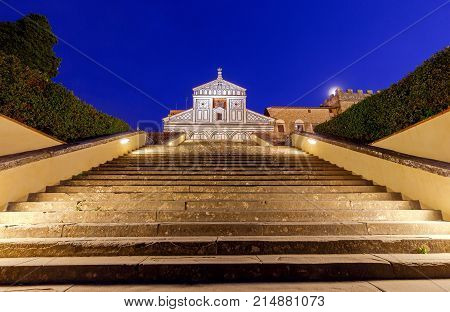 Basilica of San Miniato al Monte on the hill of Michelangelo at night. Florence. Italy.