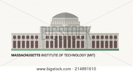 Massachusetts Institute of Technology . Vector Flat Illustration