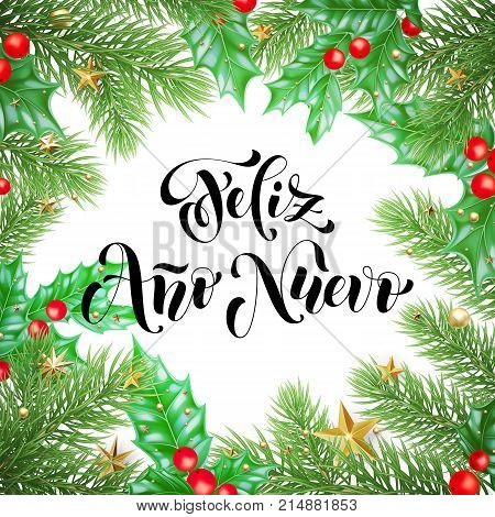 Feliz Ano Nuevo Spanish Happy New Year Holiday Hand Drawn Calligraphy Text For Greeting Card Backgro