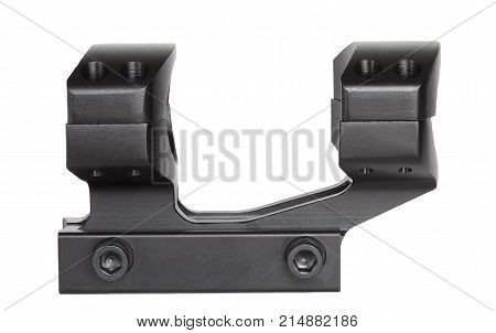 Rifle scope mount for a rail isolated on white