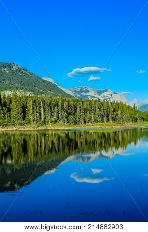 Cloudy sentinel, Middle Lake, Bow Valley Provincial Park, Alberta, Canada