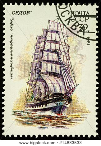 Moscow Russia - November 22 2017: A stamp printed in USSR (Russia) shows image of Russian four-masted barque
