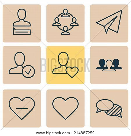 Communication Icons Set With Favorite Person, Communication, Team Organisation And Other Speaking Elements. Isolated Vector Illustration Communication Icons.