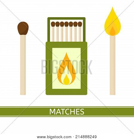 Vector illustration of matches box isolated on white background. Matchbox and burning match for camping hiking survival in flat style. Open matchbook.