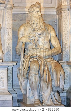 ROME, ITALY - DECEMBER 31, 2016: famous sculpture - Moses by Michelangelo, part of the tomb of Pope Julius II, located in San Pietro in Vincoli (Saint Peter in Chains), Rome, Italy