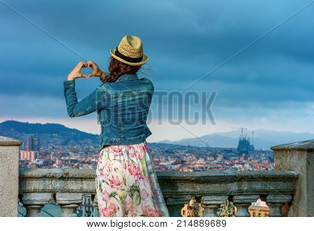 Traveller Woman In Barcelona, Spain Showing Heart Shaped Hands
