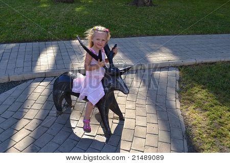 little girl and deer