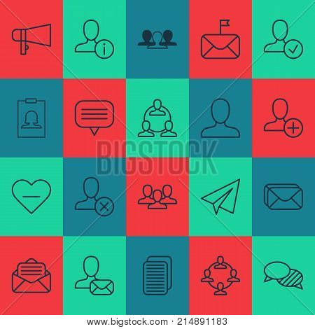 Social Icons Set With Significant, Read Message, Personal Data And Other Confirm Elements. Isolated Vector Illustration Social Icons.