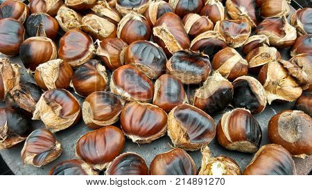 Close up of tasty roasted chestnuts. Roasted chestnuts
