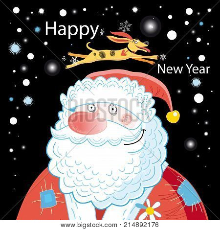Christmas card with Santa Claus and dog on a dark background