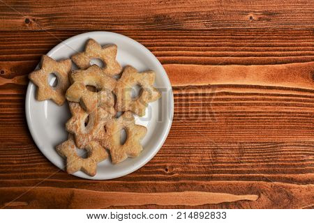 Homemade Pastry Concept. Tea Cookies On Wooden Background