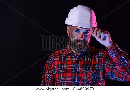 Construction And Hard Work Concept. Worker With Brutal Image