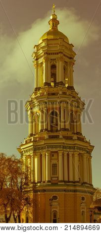 Ukrainian landmark, Lavra bell tower cathedral. Great Lavra Bell Tower or the Great Belfry. Kiev, Ukraine