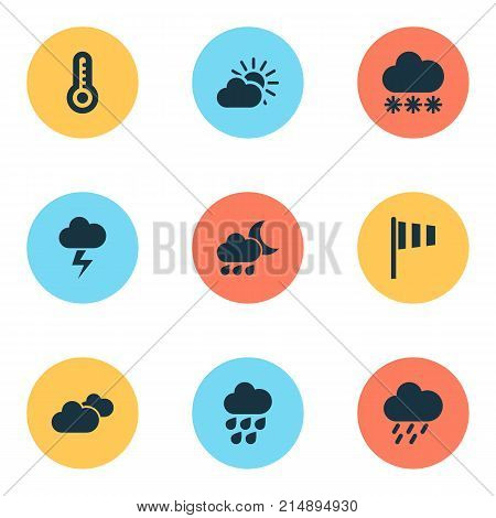 Climate Icons Set With Sunset, Snowy, Nightly And Other Flag Elements. Isolated Vector Illustration Climate Icons.