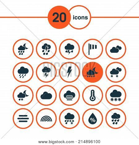 Climate Icons Set With Drizzle, Lightning, Snowy And Other Voltage Elements. Isolated Vector Illustration Climate Icons.