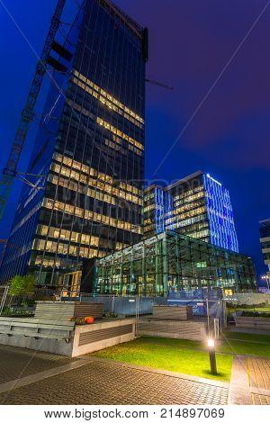 Gdansk, Poland - October 11, 2017: Modern Buildings Architecture Of Olivia Business Center In Gdansk