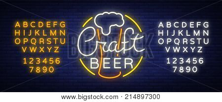 Original logo design is a neon-style beer craft for a beer house, bar pub, brewery brewery tavern, stuffing, pub, restaurant. Night beer advertising, neon glowing bright sign. Editing text neon sign.