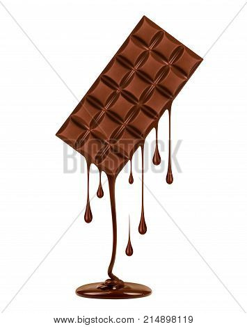 Chocolate dripping from black chocolate bar isolated on white background. 3d illustration