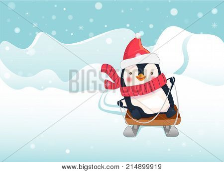 Penguin on sled. Penguin cartoon vector illustration.