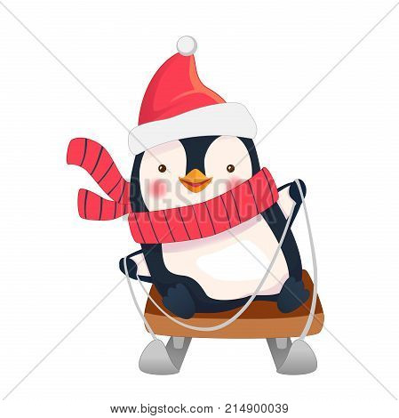 Penguin on sled isolated. Penguin cartoon illustration.